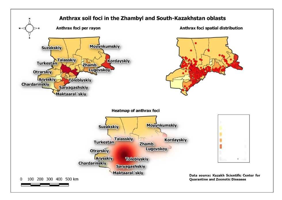 Hot spots of anthrax soil foci of the southern Kazakhstan